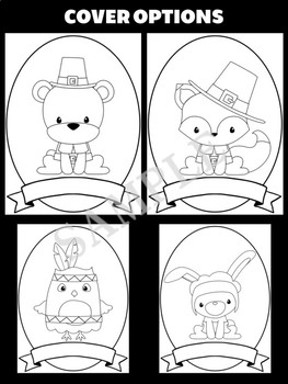 Thanksgiving Animals Writing Crafts SET - Jackie's Crafts - 6 Covers in All