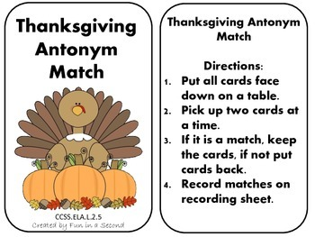 Thanksgiving Antonym Match