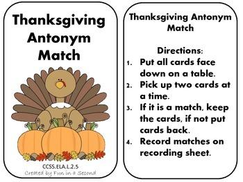Thanksgiving Antonym Match