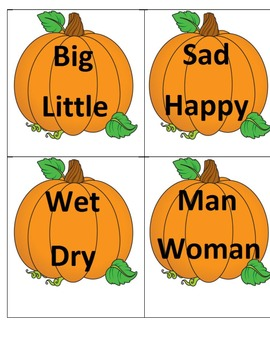 Thanksgiving Antonym Pumpkin Puzzle
