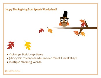 Thanksgiving Antonyms, Multiple Meaning Words,... by Speech ...