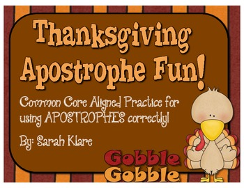 Thanksgiving Apostrophe Fun! {Activity Pack}