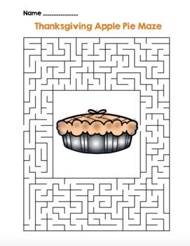 Thanksgiving Apple Pie Maze! Thanksgiving Maze FUN! (Color & Black Line)