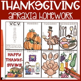 Thanksgiving Apraxia Homework