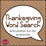 Thanksgiving Word Search for Speech