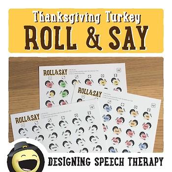 Thanksgiving Articulation Dice Activity
