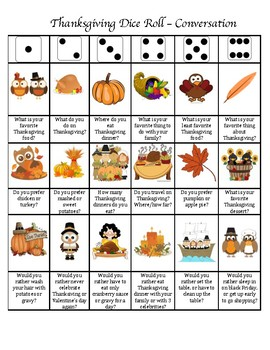 Thanksgiving Articulation Dice Roll (Conversational Level)