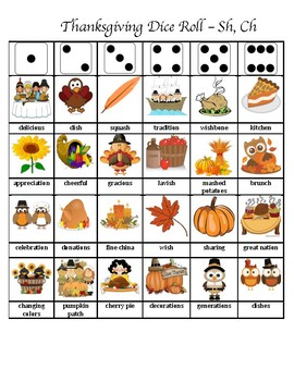 Thanksgiving Articulation Dice Roll (Sh and Ch)