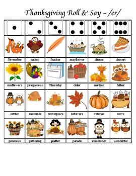 Thanksgiving Articulation Dice Roll (Vocalic R - er)