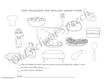 Thanksgiving Articulation Homework