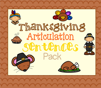 Thanksgiving Articulation Sentences Pack
