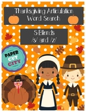 Thanksgiving Articulation Word Search /s/, /z/, and S-Blends
