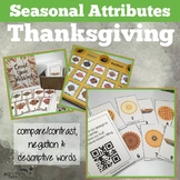 Thanksgiving Attributes Game: Compare/Contrast plus Cariboo!