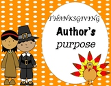 Thanksgiving Author's Purpose Task Cards