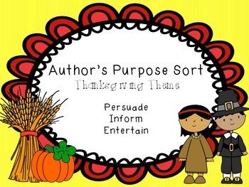 Thanksgiving Author's Purpose Sort