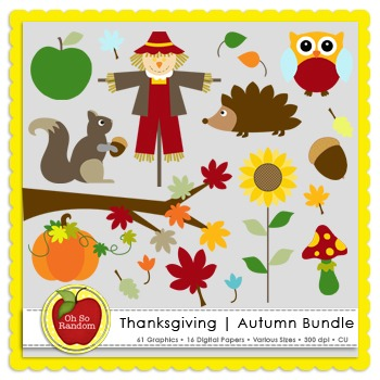 Thanksgiving | Autumn Clip Art Bundle {Graphics for Commercial Use}