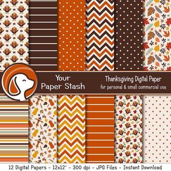 Thanksgiving Autumn Digital Scrapbook Papers Turkeys Leaves