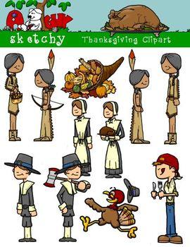 Thanksgiving / Autumn / Fall Clipart 300dpi Color, Graysca