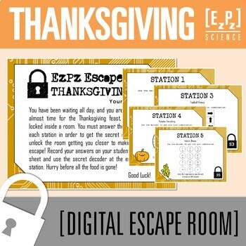 Thanksgiving/ Fall Escape Room- Science Digital Breakout- Distance Learning