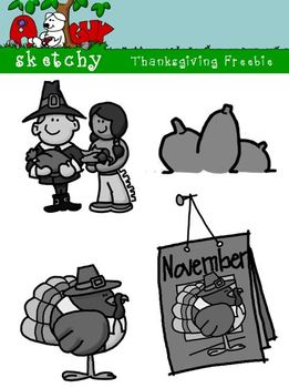 Thanksgiving / Autumn / Fall Freebie 300dpi Color Grayscale Black lined