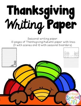 Thanksgiving (November) Writing Paper