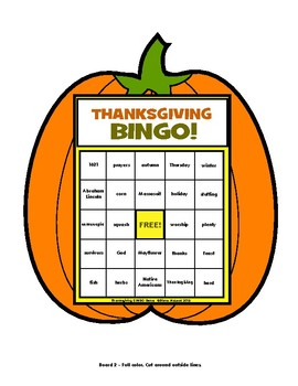 Thanksgiving BINGO Game - Fun shaped boards for up to 32 players!