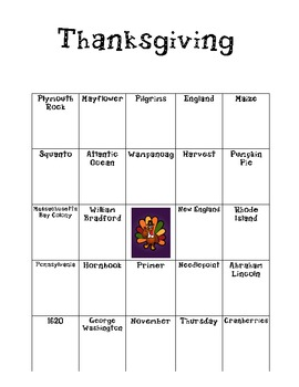 "Thanksgiving ""BINGO"" like game"