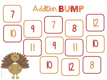 Thanksgiving BUMP Addition & Subtraction Games (4 Different Games!)