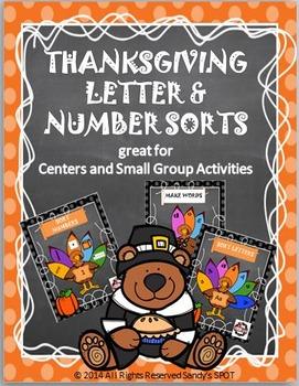 Thanksgiving BUNDLE Letter and Number Sorts