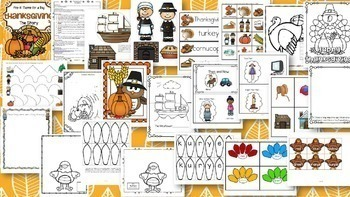 Thanksgiving BUNDLE - Simple History and Traditional Food Activities - 82 pages