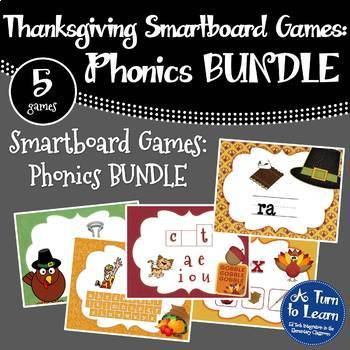 Thanksgiving Phonics Games BUNDLE for Smartboard (5 games included!)
