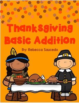 Thanksgiving Basic Addition Math Worksheet (sums up to 10)