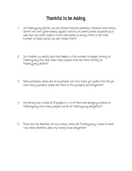 Thanksgiving Basic Addition Word Problems