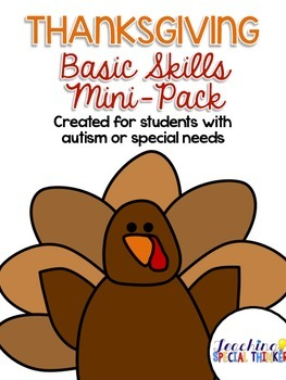 Thanksgiving Basic Skills Mini-Pack for students with Auti