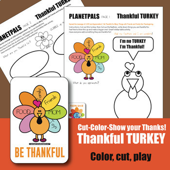 Thanksgiving Thankful Turkey Activity Kit Color Cut Construct Write Give Thanks