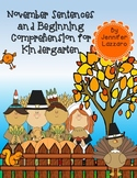 Thanksgiving Beginning Comprehension and Writing/Labeling for Kindergarten