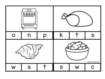 Thanksgiving Beginning Sound Clip Cards