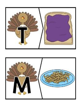Thanksgiving Beginning Sound Puzzles
