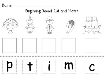Thanksgiving Beginning Sound Sort