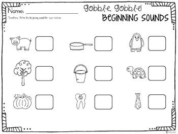 Thanksgiving Beginning Sound Sort {freebie}