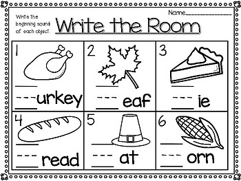 Thanksgiving Beginning Sound Write the Room