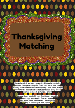 Thanksgiving Beginning Sounds Match
