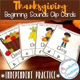 Thanksgiving Beginning Sounds Task Cards Center