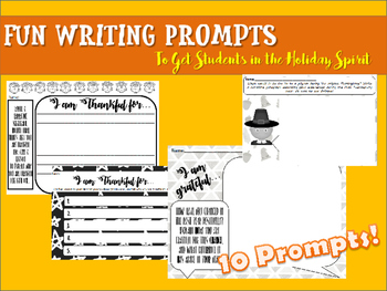 Thanksgiving Bell Ringer: 10 Quick Write Activities