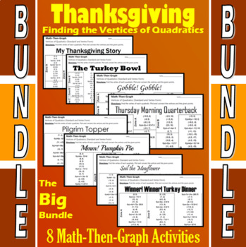 Thanksgiving - Big Bundle - 8 Math-Then-Graph Activities - Finding Vertices
