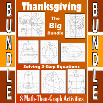 Thanksgiving - Big Bundle - 8 Math-Then-Graph Activities - Solve 2-Step Eqs