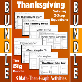 Thanksgiving - Big Bundle - 8 Math-Then-Graph Activities - Solve 2-Step Eqs