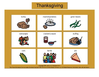 Thanksgiving Bingo! Single Board [speech therapy and autism]