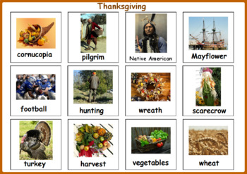 Thanksgiving Activity - Autism Matching File Folders, Thanksgiving Vocabulary
