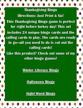 Thanksgiving Bingo - 24 Bingo Cards - Class Set